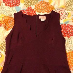 Burgundy Dress with Scalloped Neckline
